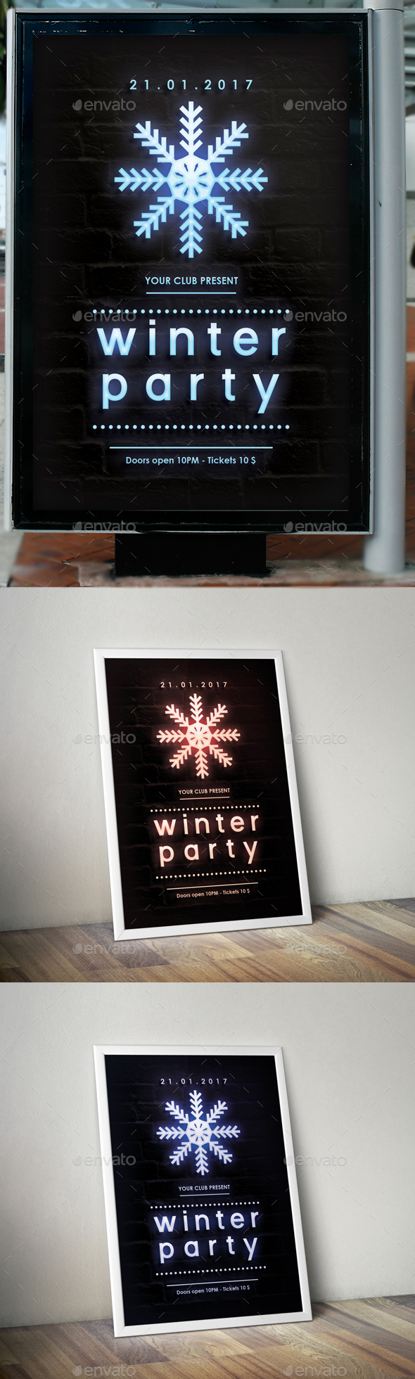 Winter Party Neon Poster - Clubs & Parties Events