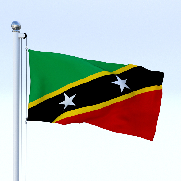 Animated Saint Kitts and Nevis Flag - 3DOcean Item for Sale
