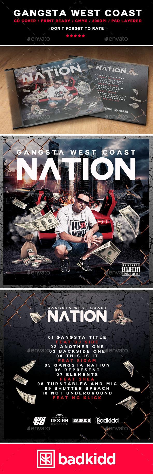 Gangsta West Coast CD Cover - CD & DVD Artwork Print Templates
