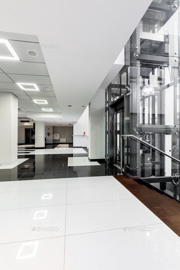 Modern black and white corridor - Stock Photo - Images