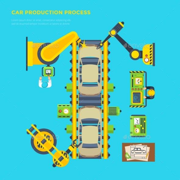 Car Production Line Poster - Technology Conceptual