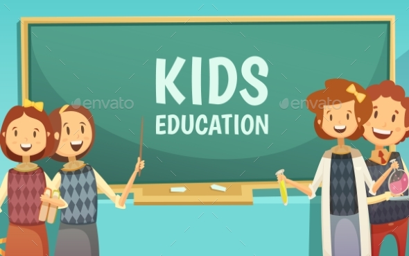 Kids Primary Education Cartoon Poster - Conceptual Vectors