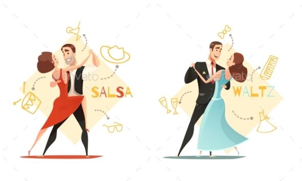Dancing Pairs 2 Retro Cartoon Templates - Backgrounds Decorative