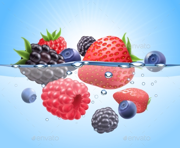 Berries In Water Realistic Composition - Food Objects