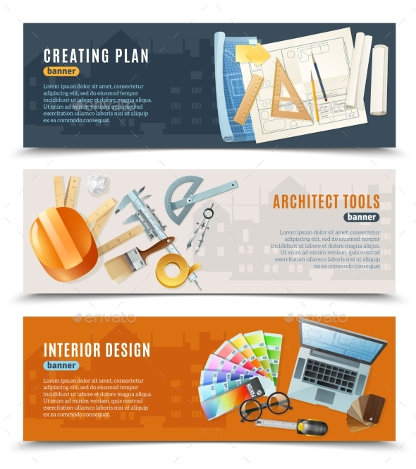 Construction Architect Tools Banners - Industries Business