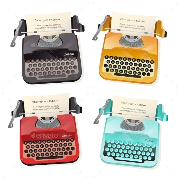 Typewriter Flat Set - Objects Vectors
