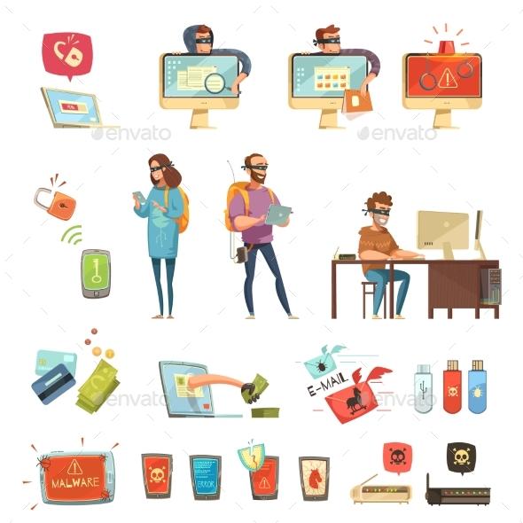 Hackers Activities Retro Cartoon Icons Set - Technology Conceptual