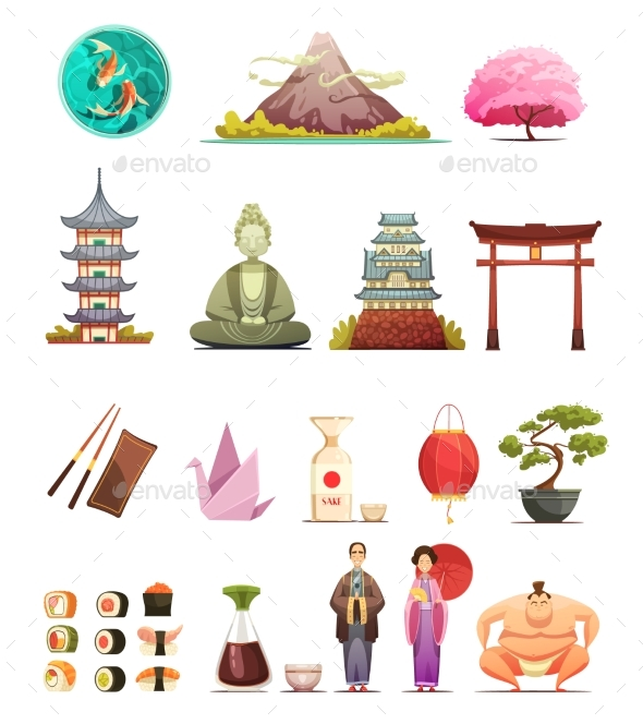 Japan Culture Retro Cartoon Icons Set - Travel Conceptual