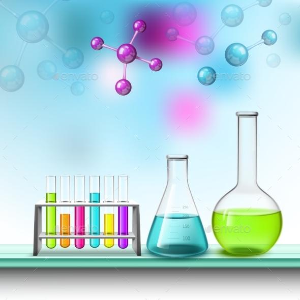 Color Tubes And Molecules Composition - Decorative Vectors