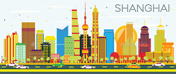 Abstract Shanghai Skyline with Color Buildings - Buildings Objects