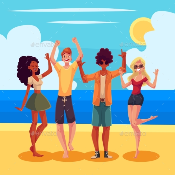 Young People Dancing on the Beach at a Seaside - People Characters