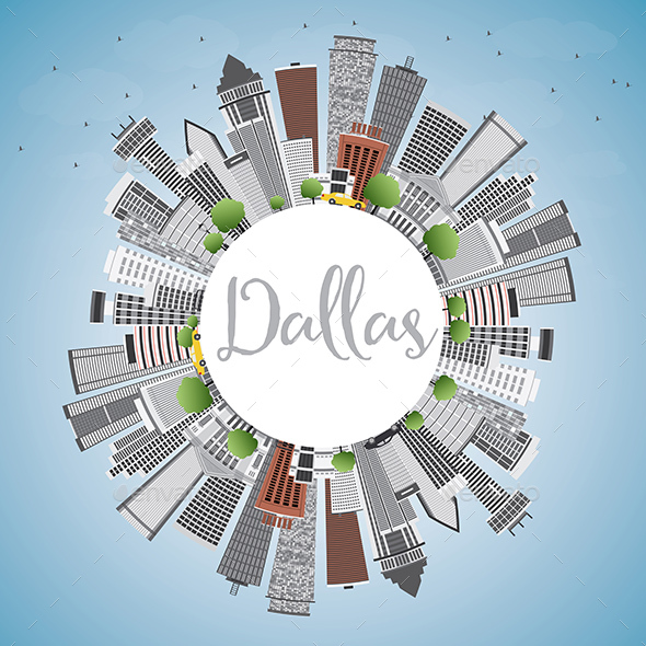 Dallas Skyline with Gray Buildings - Buildings Objects