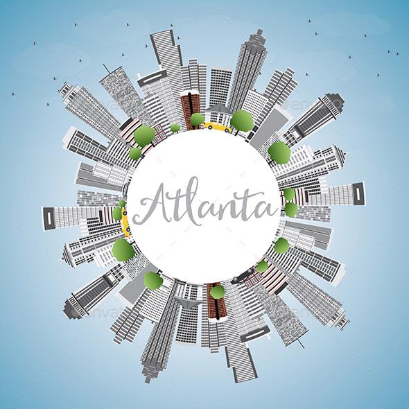 Atlanta Skyline with Gray Buildings - Buildings Objects