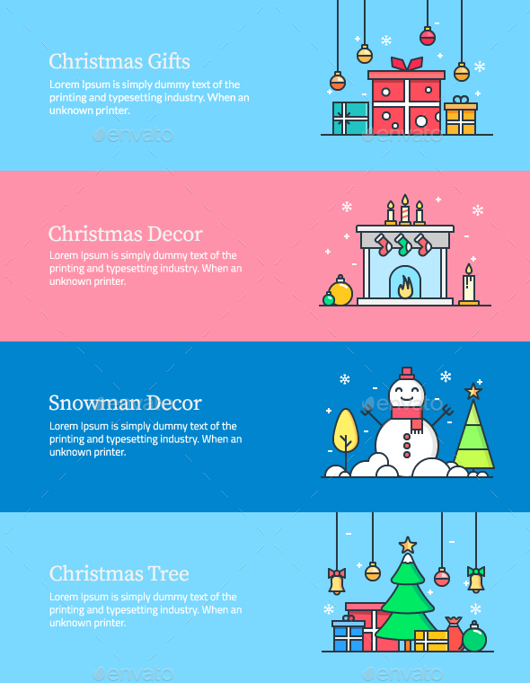 Christmas Web Banners - Web Elements Vectors