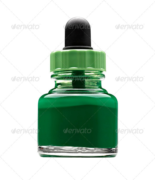 Pot of green acrylic color - Stock Photo - Images