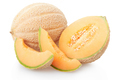 Cantaloupe melon section and slices on white, clipping path - PhotoDune Item for Sale