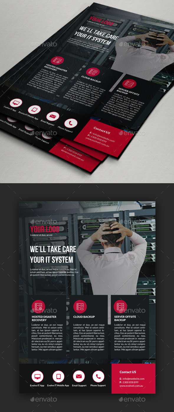 Cloud Backup Flyer Template - Corporate Business Cards