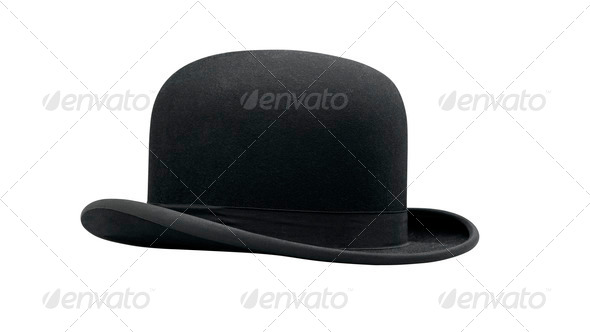 a bowler hat isolated on a white background - Stock Photo - Images