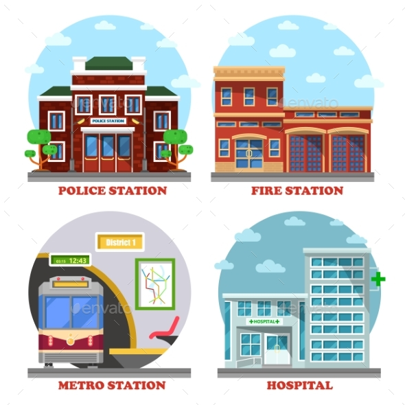 Fire Station Metro Police and Hospital Buildings - Health/Medicine Conceptual