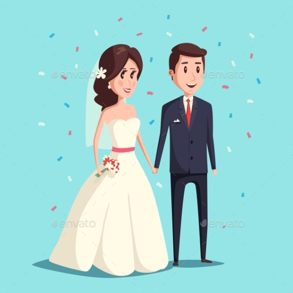 Bride and Groom as Wedding Couple Illustration - Weddings Seasons/Holidays