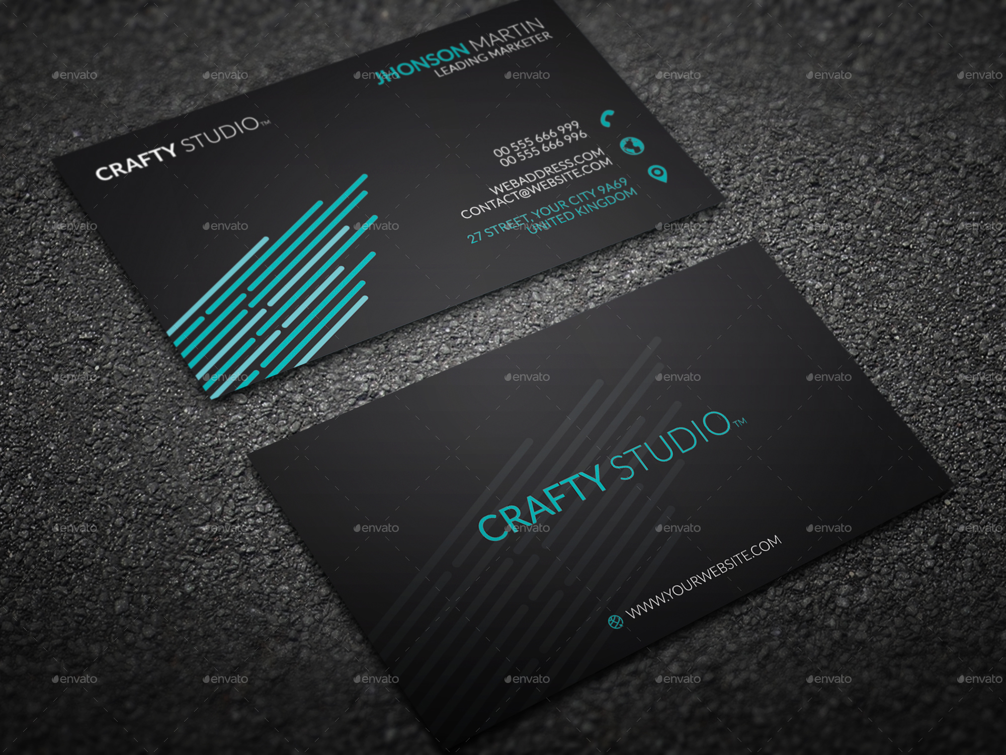 Personal Black Business Card by mr_remon | GraphicRiver