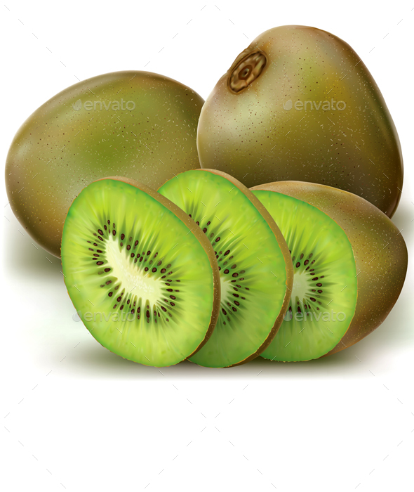 Kiwi Fruits and Sliced - Food Objects