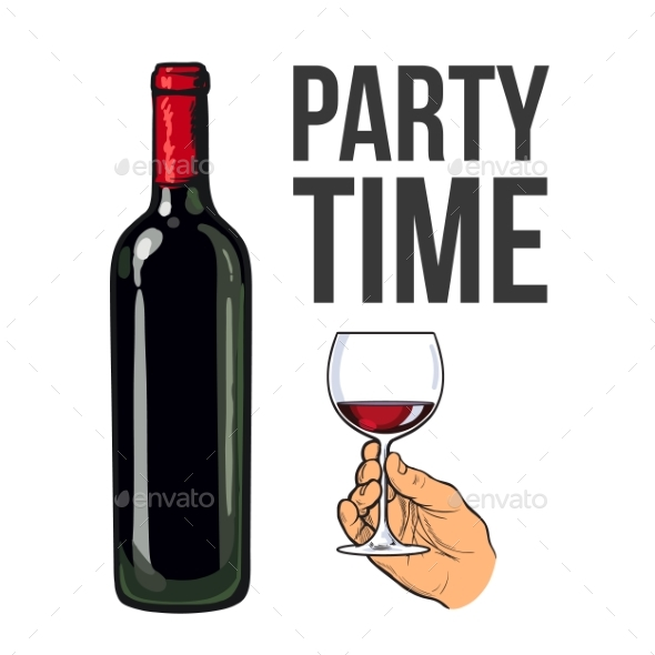 Red Wine Bottle and Hand Holding a Glass - Miscellaneous Vectors