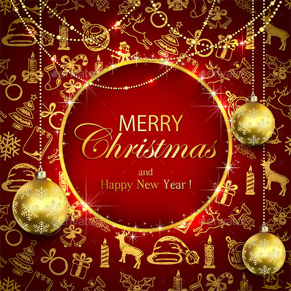 Merry Christmas on Red Background with Golden Decoration and Baubles - Christmas Seasons/Holidays