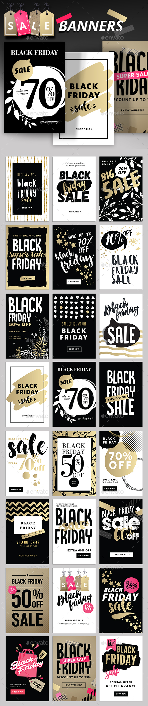 Black Friday Social Media Banners - Banners & Ads Web Elements