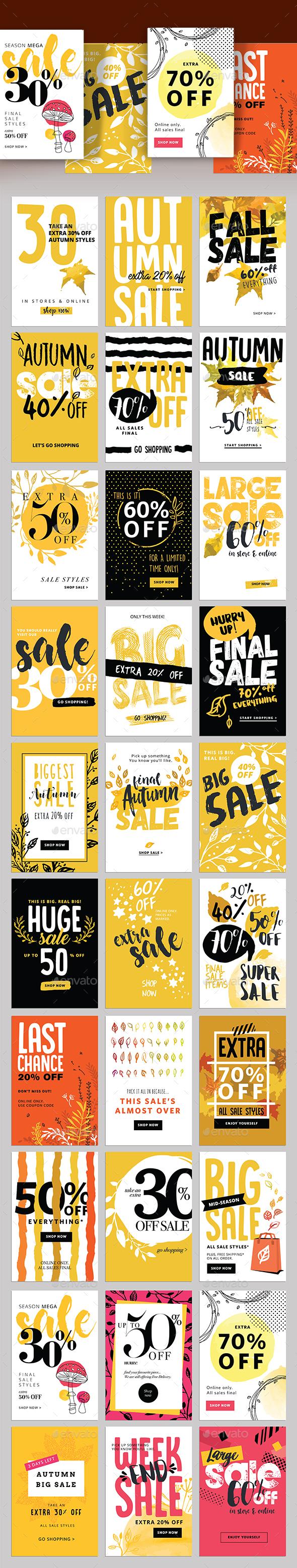 Autumn Social Media Sale Banners - Banners & Ads Web Elements