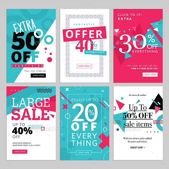 Social Media Sale Banners - Banners & Ads Web Elements