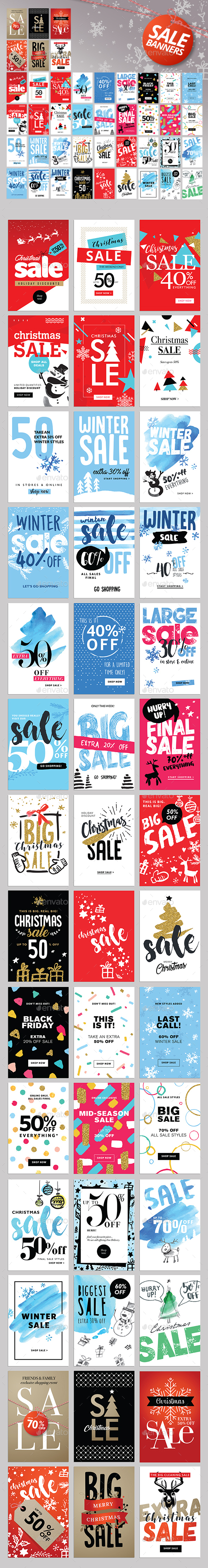 Set of Winter Mobile Sale Banners - Banners & Ads Web Elements