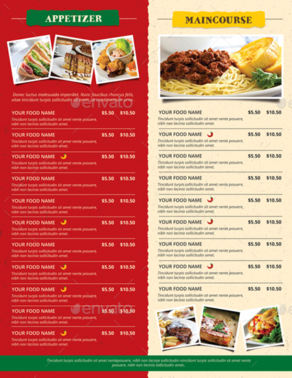 rustic trifold restaurant brochure and menu by monggokerso