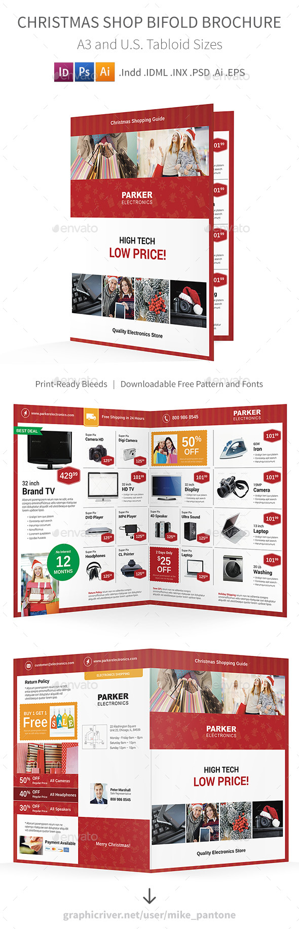 Christmas Shop Bifold / Halffold Brochure - Informational Brochures