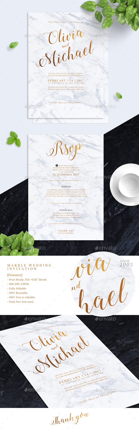 Marbel Wedding Invitation - Weddings Cards & Invites