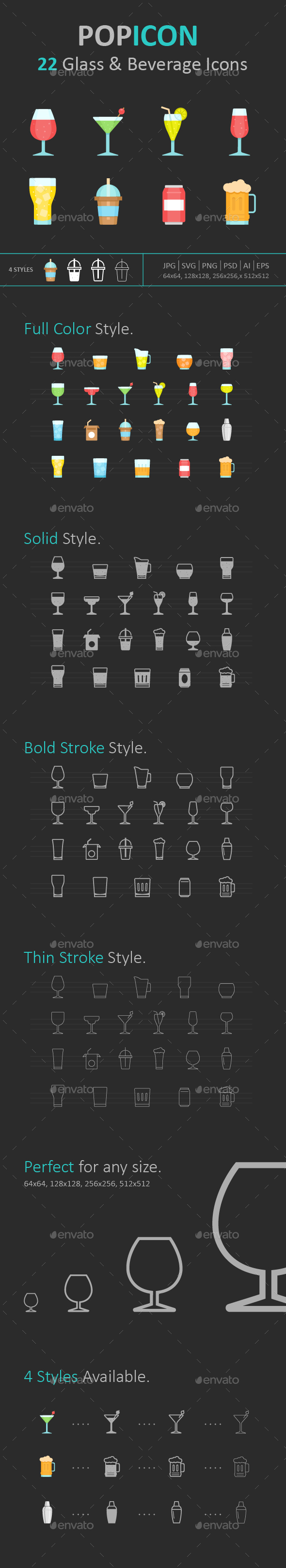 Glass & Beverage Icon set - Food Objects