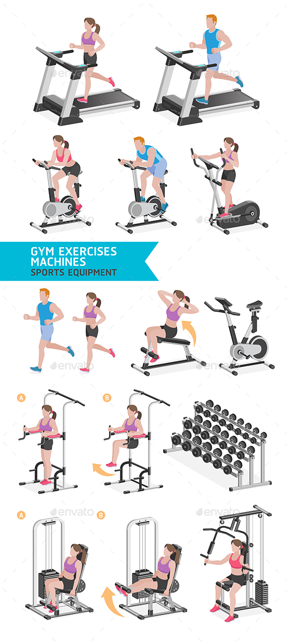 Gym Exercises Machines Sports Equipment - Sports/Activity Conceptual
