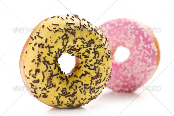 sweet doughnut on white - Stock Photo - Images
