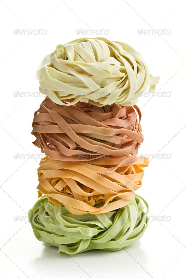 colorful pasta tagliatelle - Stock Photo - Images