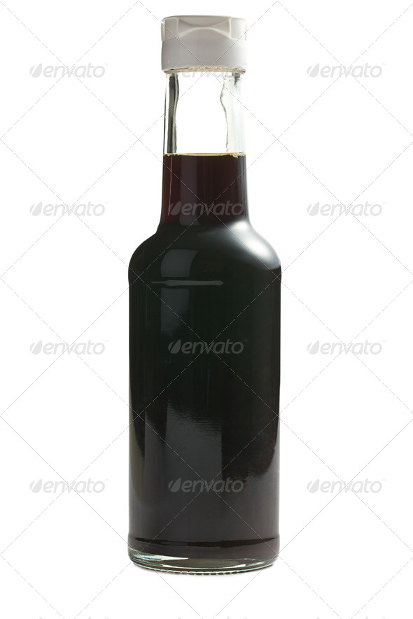 soy sauce in bottle - Stock Photo - Images