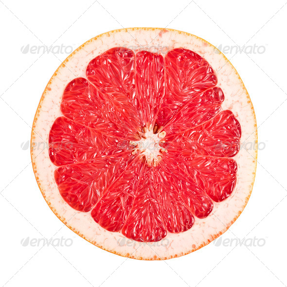 sliced red grapefruit on white - Stock Photo - Images