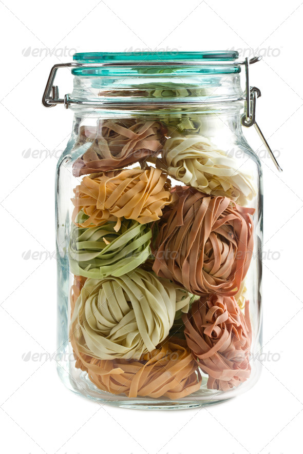 colorful pasta tagliatelle in glass jar - Stock Photo - Images