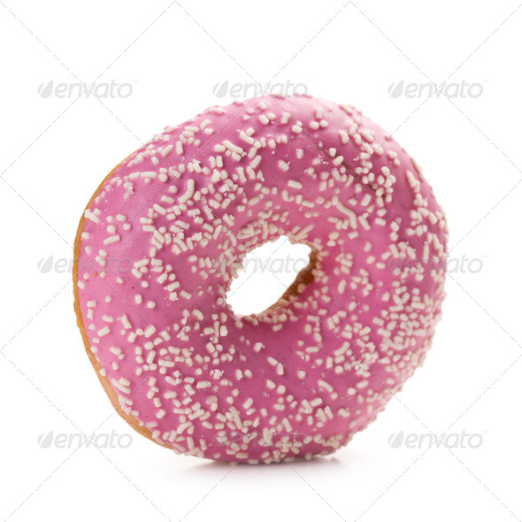 sweet doughnut on white - Stock Photo - Images