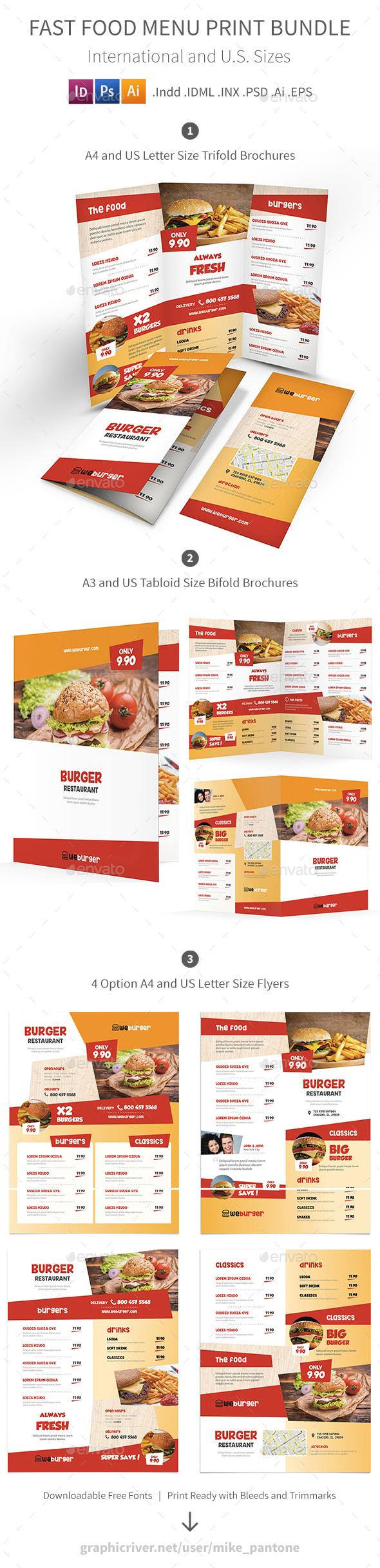 Fast Food Restaurant Menu Print Bundle - Food Menus Print Templates