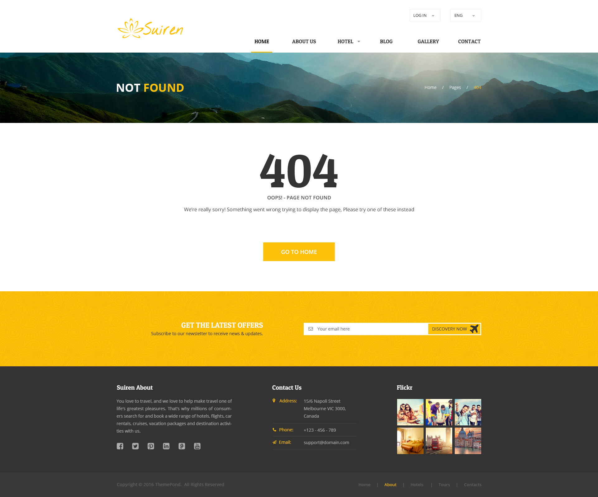 Suiren travel tour and booking agency html template by for 404 not found html template