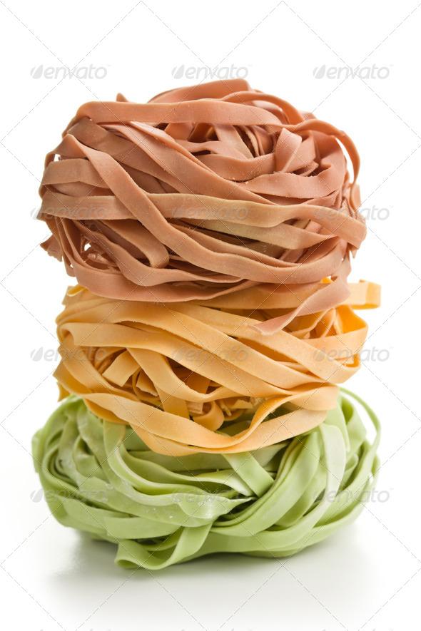 colorful pasta tagliatelle - Stock Photo - Images
