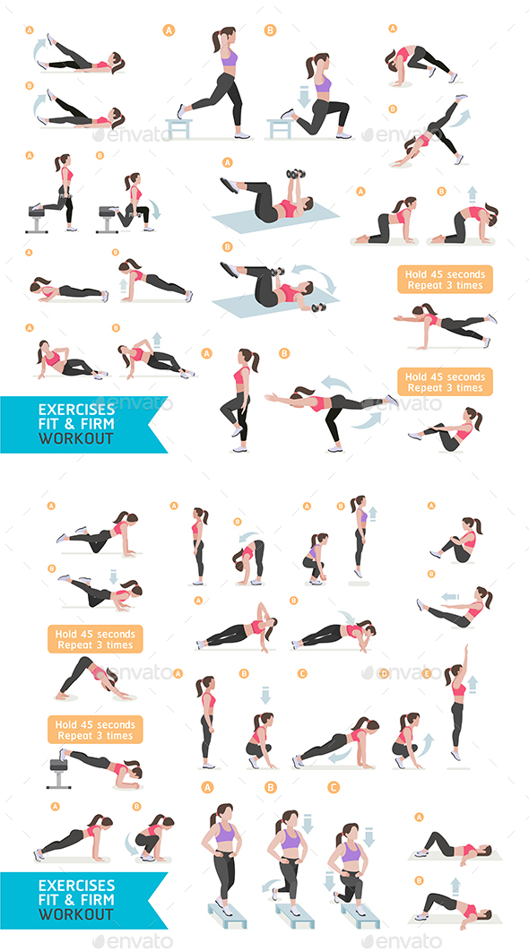 Woman Fitness Aerobic and Exercises. - Sports/Activity Conceptual