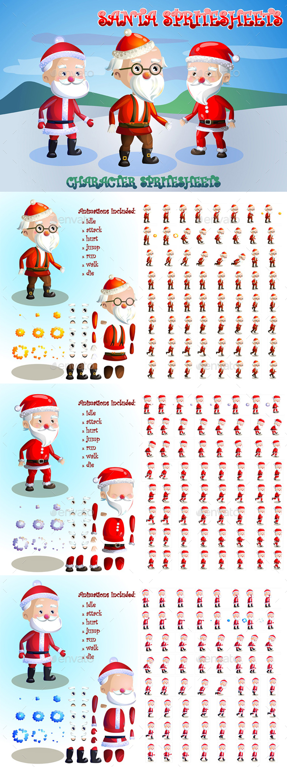 2D Game Santa Character Sprite Sheets - Sprites Game Assets