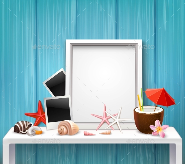 Realistic Blank Frame Template - Decorative Symbols Decorative
