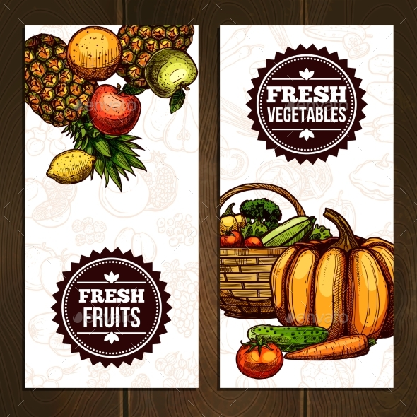 Vegetables And Fruits Vertical Banners - Abstract Conceptual